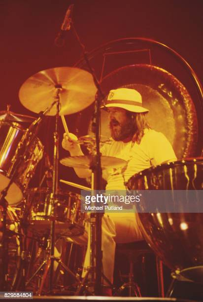 Drummer John Bonham of British rock band Led Zeppelin performing on stage at Madison Square Garden in New York City 7th June 1977