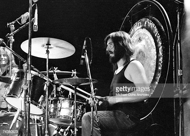 Drummer John Bonham of the rock band 'Led Zeppelin' performs onstage at the Forum on June 3 1973 in Los Angeles California