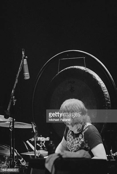 drummer John Bonham on stage with British heavy rock group Led Zeppelin at Earl's Court London May 1975 The band were initially booked to play three...