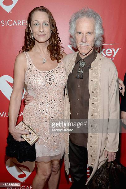 Drummer John Densmore and Ildiko Von Somogyi attend the 25th anniversary MusiCares 2015 Person Of The Year Gala honoring Bob Dylan at the Los Angeles...