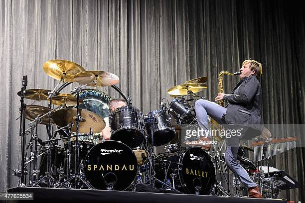 Drummer John Keeble and Saxophonist Steve Norman of the British band Spandau Ballet perform on stage at Barclaycard Center on June 18 2015 in Madrid...