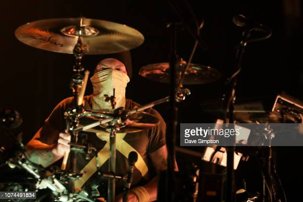 Drummer Josh Dun of Twenty One Pilots performs on stage during the Bandito tour at Spark Arena on December 21, 2018 in Auckland, New Zealand.