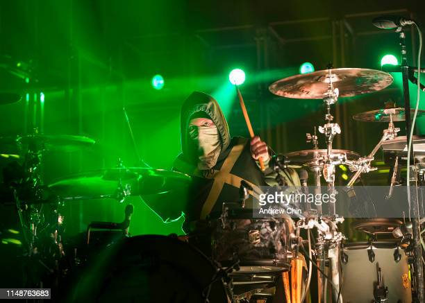 Drummer Josh Dun of Twenty One Pilots performs on stage during the Bandito tour at Rogers Arena on May 12, 2019 in Vancouver, Canada.