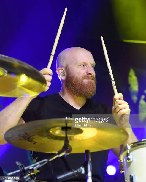 Drummer Justin Foley of Killswitch Engage performs during the Las Rageous music festival at the Downtown Las Vegas Events Center on April 21 2017 in...