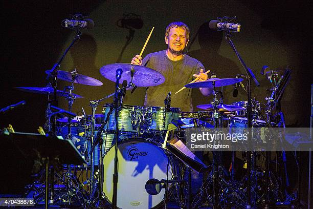 Drummer Keith Carlock of Steely Dan performs on stage during their Rockabye Gollie Angel Tour at Humphrey's Concerts By The Bay on April 19 2015 in...