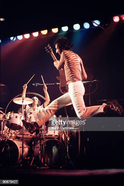 Drummer Keith Moon and guitarist Pete Townshend performing with English rock group The Who at Belle Vue Manchester October 1975