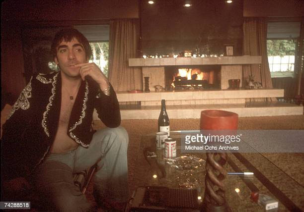"Drummer Keith Moon of the rock and roll band ""The Who"" poses for a portrait session at home in November 1974 in Los Angeles, California."