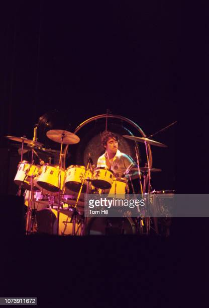 Drummer Keith Moon of The Who performs at Murphy Athletic Center of Middle Tennessee State University on November 261975 in Murfreesboro Tennessee