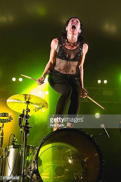 Drummer Kim Schifino of Matt and Kim performs in concert at Stubb's BarBQ on April 23 2015 in Austin Texas