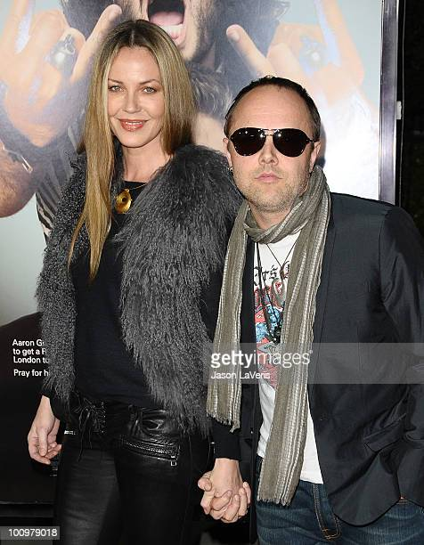 Drummer Lars Ulrich of Metallica and actress Connie Nielsen and attend the premiere of Get Him To The Greek at The Greek Theatre on May 25 2010 in...