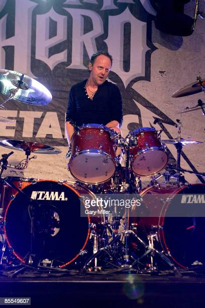 """Drummer Lars Ulrich of Metallica performs at a secret show celebrating the release of Activision's """"Guitar Hero: Metallica"""" at Stubb's during 2009..."""