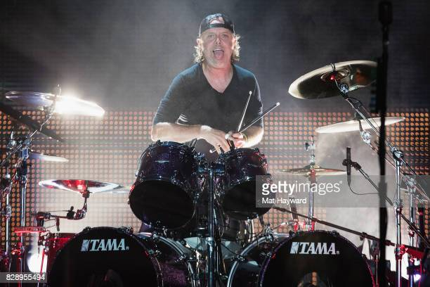 Drummer Lars Ulrich of Metallica performs on stage at CenturyLink Field on August 9 2017 in Seattle Washington