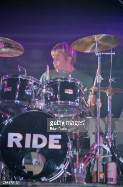Drummer Laurence Colbert performs live on stage with English rock group Ride at the Royal Albert Hall in London on 21st September 1994