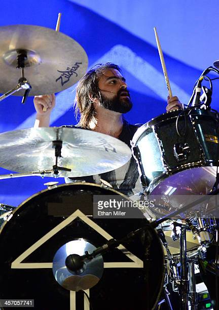 Drummer Mark Goodwin of Sick Puppies performs during KOMP'S Totally Politically Correct Holiday Bash at The Joint inside the Hard Rock Hotel Casino...