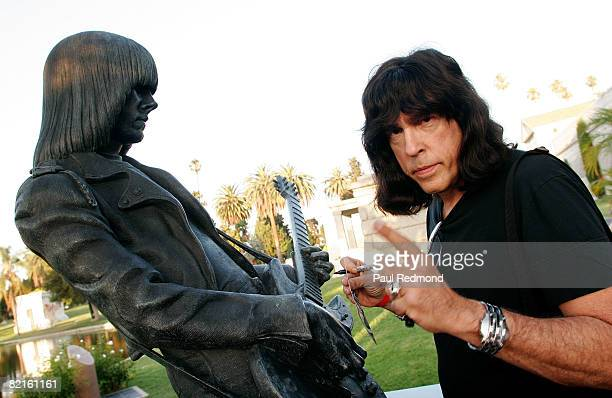Drummer Marky Ramone signing autographs at the statue of Johnny Ramone at the Tribute To Legendary Ramones Guitarist Johnny Ramone at the Hollywood...