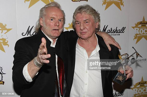 Drummer Martin Chambers and Mick Ralphs from rock group Mott the Hoople with their Comeback award during the Classic Rock Roll Of Honour Awards at...
