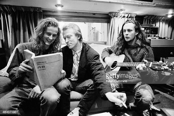Drummer Martin Gilks and singer Miles Hunt , of English pop group The Wonder Stuff at Rockfield Studios, near Monmouth in Wales, December 1989. The...
