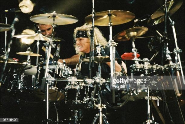 Drummer Matt Sorum of Guns n Roses performs on stage on The Freddie Mercury Tribute Concert at Wembley Stadium on April 20th 1992 in London United...