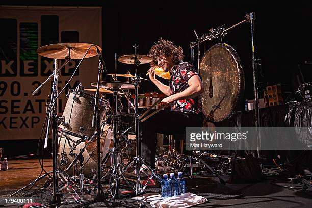 Drummer Matthew James Thomas of The Joy Formidable performs during the Bumbershoot Music Festival at Seattle Center on September 2 2013 in Seattle...