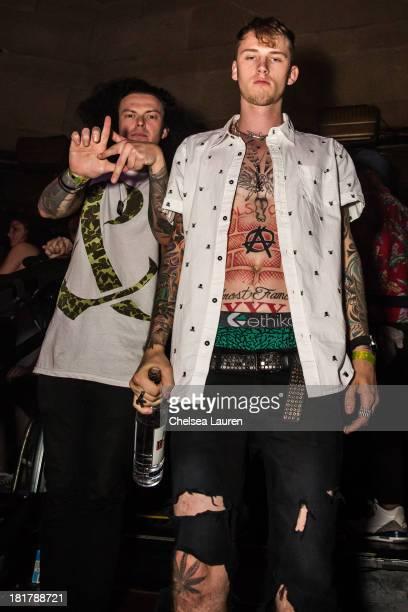 "Drummer Matty B Aka Da Kurlzz Of Hollywood Undead and rapper Machine Gun Kelly attend Krewella's ""Get Wet"" album release foam party at Exchange LA on..."