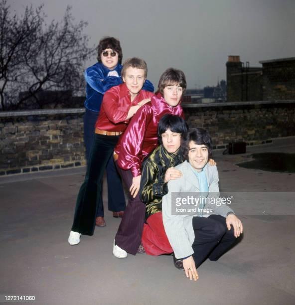 Drummer Maurice Bacon, singer Steve Ellis, bassist Mick Jackson keyboardist Lynton Guest and guitar player Rex Brayley, all of the British pop group...