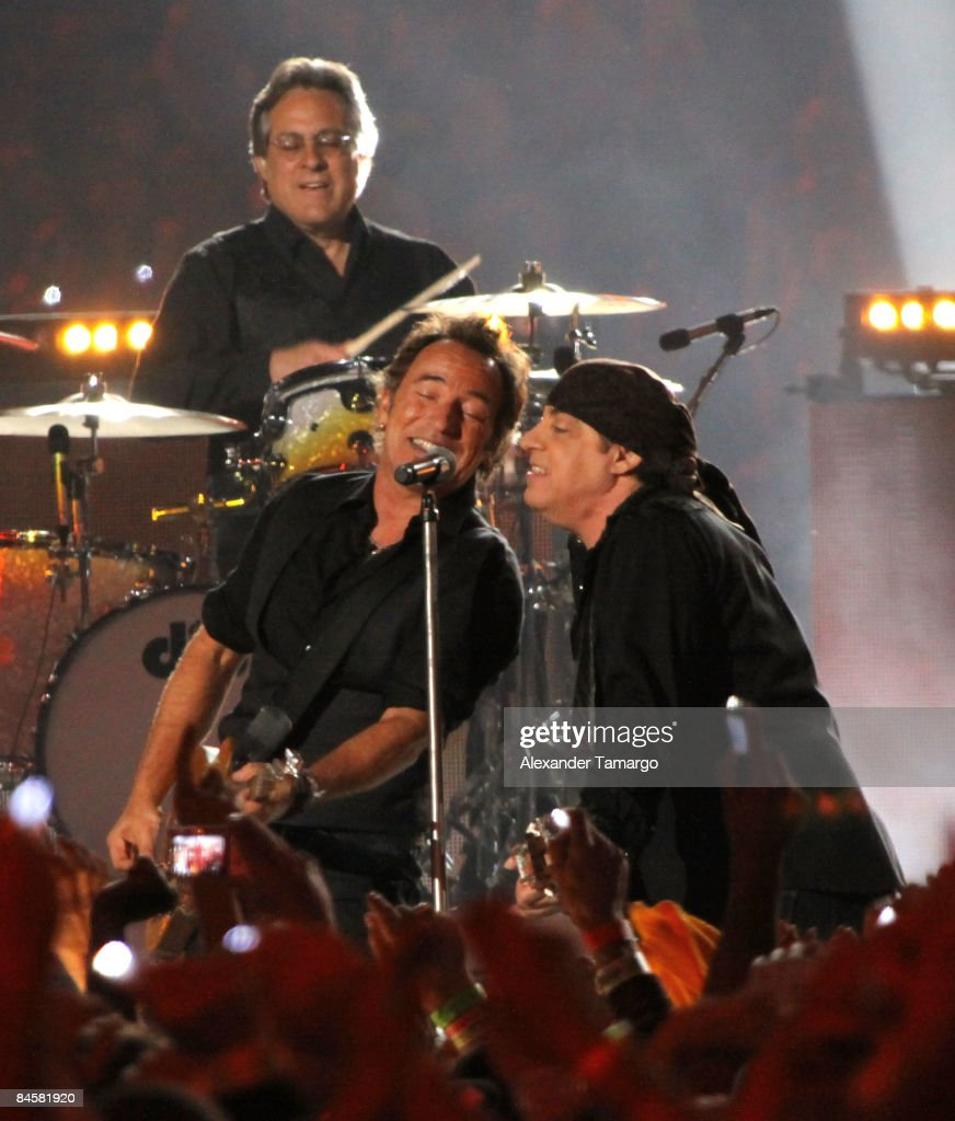Drummer Max Weinberg, Musician Bruce Springsteen and Guitarist Steven Van Zandt of the E Street Band perform at the Bridgestone halftime show during Super Bowl XLIII between the Arizona Cardinals and the Pittsburgh Steelers on February 1, 2009 at Raymond James Stadium in Tampa, Florida.