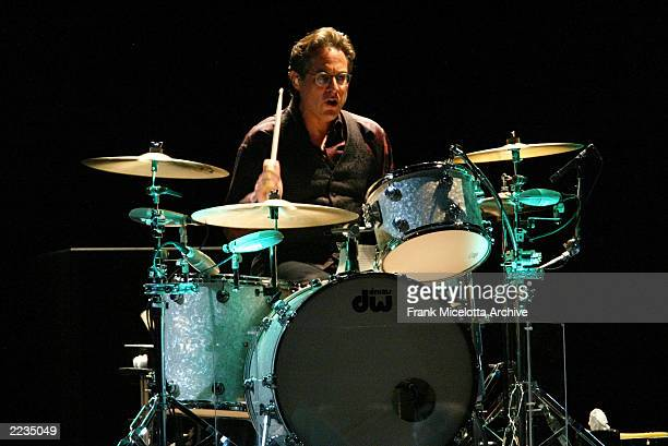 Drummer Max Weinberg performs during the first show of the Bruce Springsteen the E Street Band 20022003 world tour at the Continental Airlines Arena...