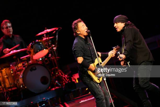 Drummer Max Weinberg singer/musician Bruce Springsteen and singer/musician Steven Van Zandt perform at Sprint Center on August 24 2008 in Kansas City...