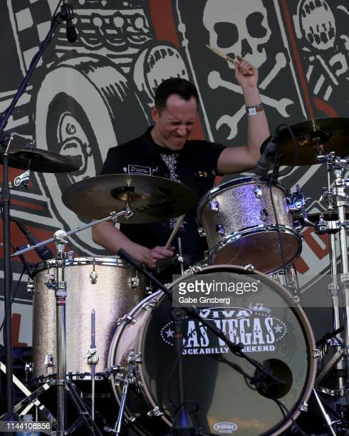Drummer Micah Malcolm of The Delta Bombers performs during the Viva Las Vegas Rockabilly Weekend's car show at the Orleans Arena on April 20 2019 in...