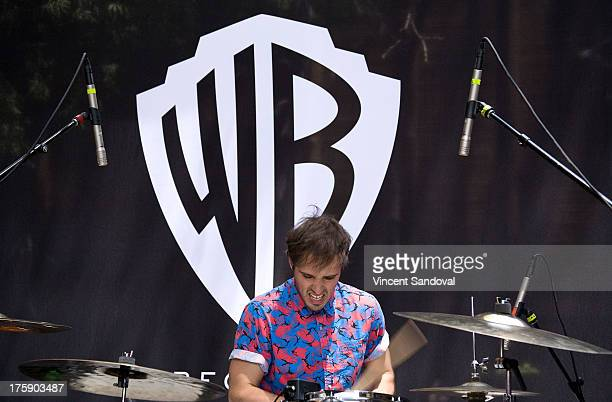 Drummer Michael Jeffery of Atlas Genius performs at the WBR Summer Sessions at Warner Bros Records boutique store on August 9 2013 in Burbank...