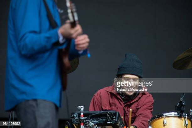 Drummer Michael Johnson of Dirty Projectors perform onstage during day 3 of 2018 Boston Calling Music Festival at Harvard Athletic Complex on May 27...