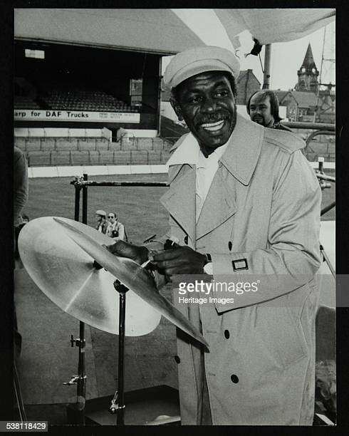 Drummer Mickey Roker at the Newport Jazz Festival Ayresome Park Middlesbrough 1978 Roker was playing with Dizzy Gillespie's band at the festival...