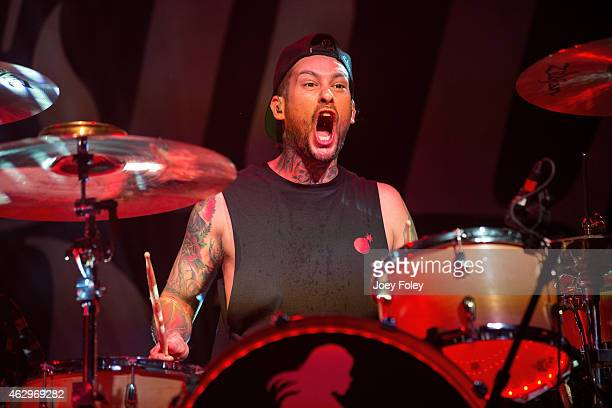 Drummer Mike Fuentes of Pierce The Veil performs in front of a sold out crowd at Egyptian Room at Old National Centre on February 7 2015 in...