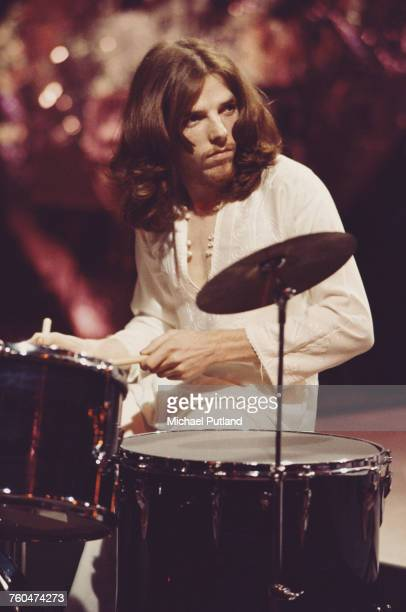 Drummer Mike Gibbins of British rock band Badfinger filming a performance of 'Day After Day' to be used as an insert for the 'Top Of The Pops' music...