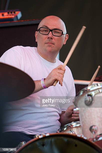 Drummer Mike Levesque of Seven Mary Three performs during the 15th Annual Rib America Festival Day 3 at Military Park on September 5 2010 in...