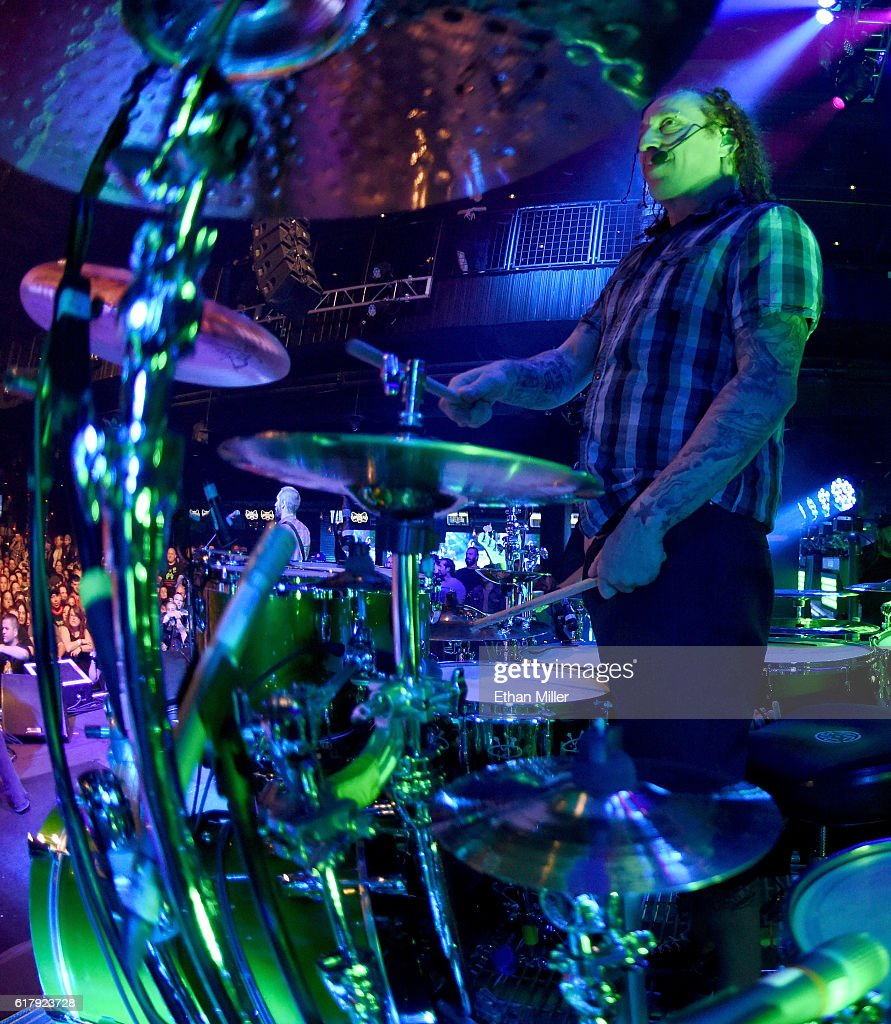 Drummer Morgan Rose of Sevendust performs during a stop of the band's Kill the Flaw tour at Brooklyn Bowl Las Vegas at The Linq Promenade on October 24, 2016 in Las Vegas, Nevada.