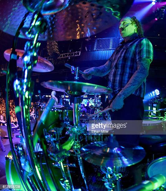 Drummer Morgan Rose of Sevendust performs during a stop of the band's Kill the Flaw tour at Brooklyn Bowl Las Vegas at The Linq Promenade on October...