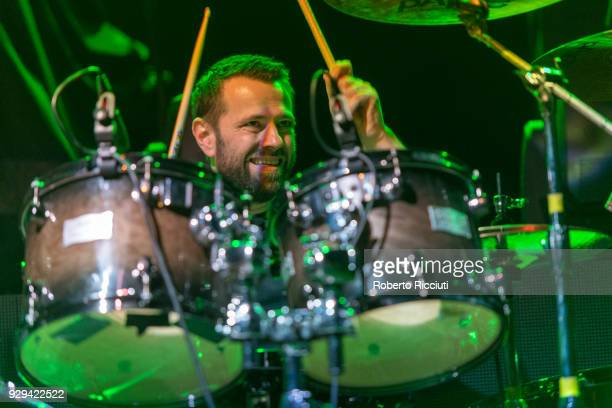 Drummer Neil Cooper of Therapy performs on stage at O2 Academy Glasgow on March 8 2018 in Glasgow Scotland