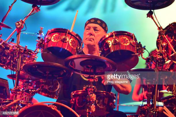 Drummer Neil Peart of Canadian rock group Rush performing live on stage at the O2 Arena in London on May 25 2013