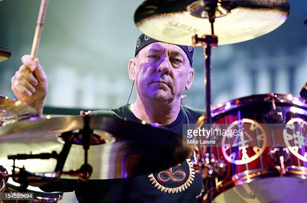 Drummer Neil Peart of Rush performs at the Barclays Center on October 22 2012 in the Brooklyn borough of New York New York