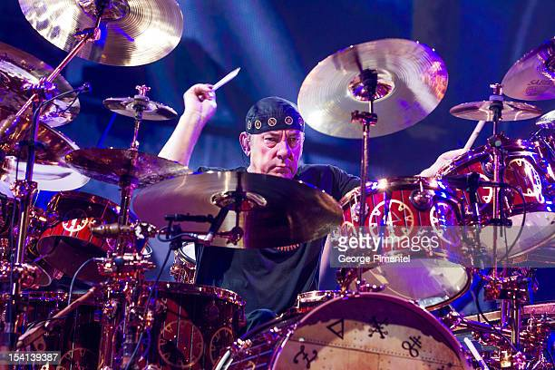 Drummer Neil Peart of Rush performs from the Clockwork Angels Tour at Air Canada Centre on October 14 2012 in Toronto Canada