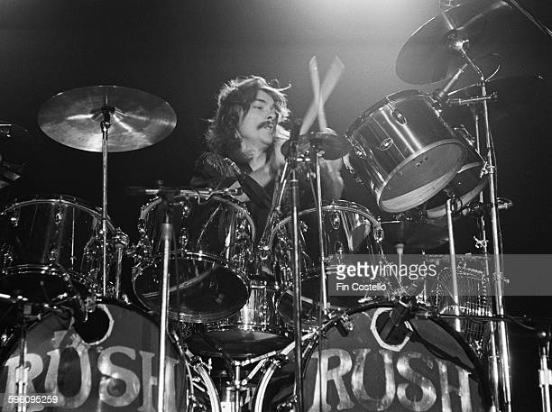 Drummer Neil Peart performing with Canadian progressive rock group Rush at the Civic Center in Springfield Massachusetts during the band's All The...