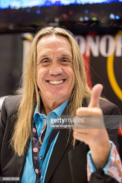 Drummer Nicko McBrain of Iron Maiden attends an autograph signing at NAMM Show Day 3 at Anaheim Convention Center on January 23 2016 in Anaheim...