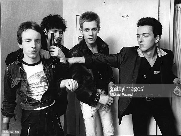Drummer Nicky 'Topper' Headon, guitarist Mick Jones , bassist Paul Simonon and singer Joe Strummer of British punk group The Clash in New York in...