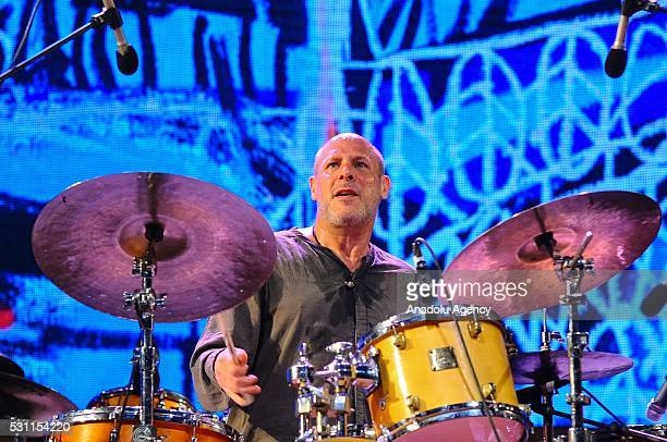 Drummer of American jazz group Jeff Ballard Trio Hreinn Gudlaugsson plays drums during 19th Annual Gnaoua Music Festival in Essaouira Morocco on May...
