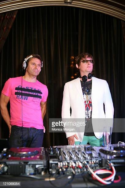 Drummer of Duran Duran Roger Taylor and DJ of Soundcaps Jake Robert at the After Party of the Smashing Pumpkins Reunion Concert at Horseshoe Casino...