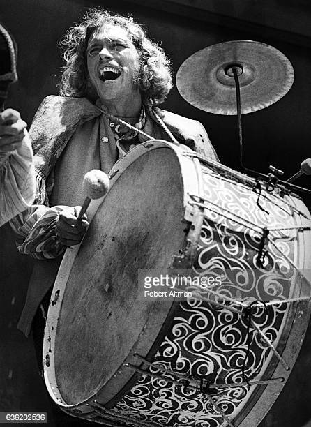 Drummer of the group The Raggle Taggle Gypsies plays on Upper Grant Street in the neighborhood of North Beach circa 1971 in San Francisco California
