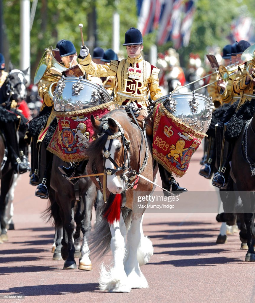 A drummer of The Mounted Band of The Household Cavalry takes part in The Colonel's Review on June 10, 2017 in London, England. The Colonel's Review is the second rehearsal for Trooping the Colour, the ceremonial event marking the official birthday of Queen Elizabeth II.