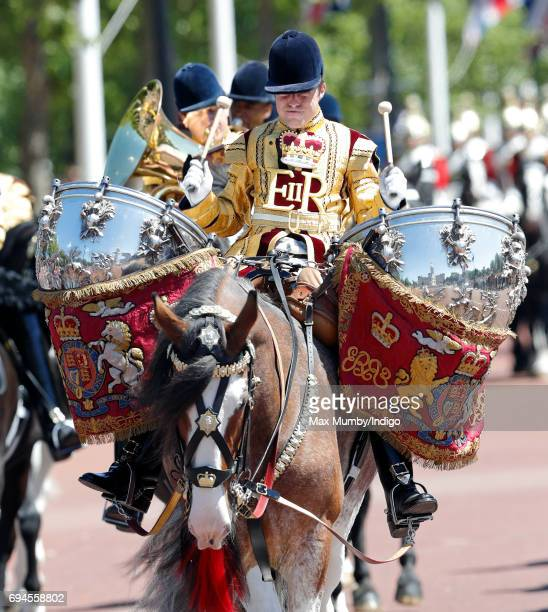 A drummer of The Mounted Band of The Household Cavalry takes part in The Colonel's Review on June 10 2017 in London England The Colonel's Review is...