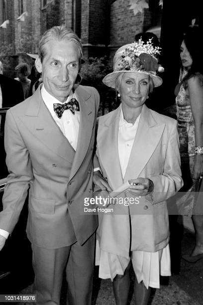 Drummer of The Rolling Stones Charlie Watts and his wife Shirley Ann Shepherd attend Georgia May Jagger's christening at Saint Andrew's church...